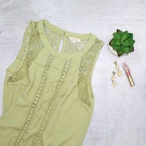 Anthropologie E Hanger M Green Boho Crochet Blouse